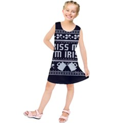 Kiss Me I m Irish Ugly Christmas Black Background Kids  Tunic Dress