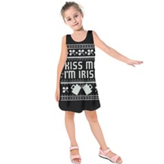 Kiss Me I m Irish Ugly Christmas Black Background Kids  Sleeveless Dress