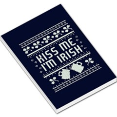 Kiss Me I m Irish Ugly Christmas Blue Background Large Memo Pads