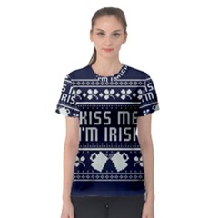 Kiss Me I m Irish Ugly Christmas Blue Background Women s Sport Mesh Tee