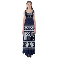 Kiss Me I m Irish Ugly Christmas Blue Background Empire Waist Maxi Dress