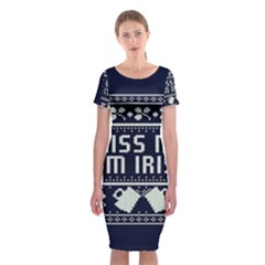 Kiss Me I m Irish Ugly Christmas Blue Background Classic Short Sleeve Midi Dress
