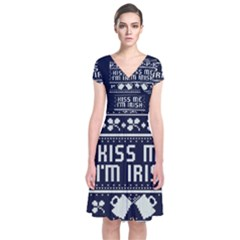 Kiss Me I m Irish Ugly Christmas Blue Background Short Sleeve Front Wrap Dress