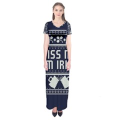 Kiss Me I m Irish Ugly Christmas Blue Background Short Sleeve Maxi Dress