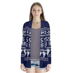 Kiss Me I m Irish Ugly Christmas Blue Background Drape Collar Cardigan
