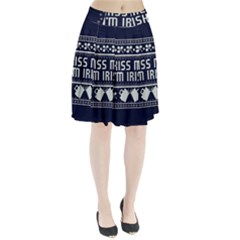 Kiss Me I m Irish Ugly Christmas Blue Background Pleated Skirt
