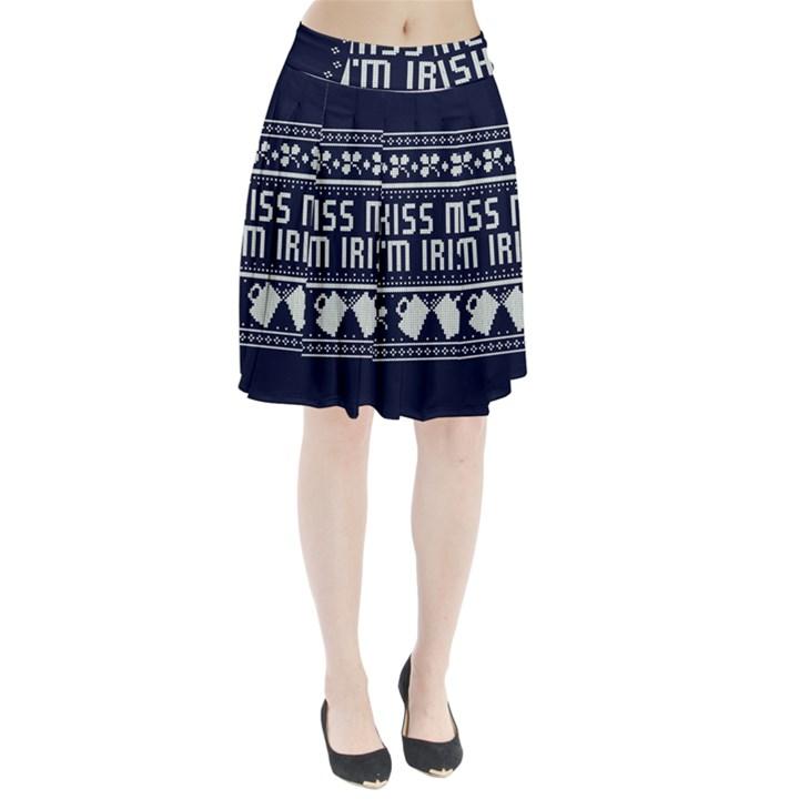 Kiss Me I m Irish Ugly Christmas Blue Background Pleated Skirt