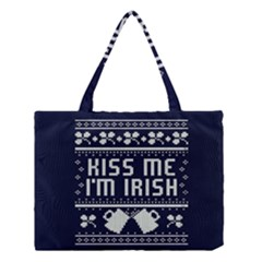 Kiss Me I m Irish Ugly Christmas Blue Background Medium Tote Bag