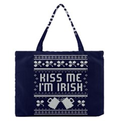 Kiss Me I m Irish Ugly Christmas Blue Background Medium Zipper Tote Bag