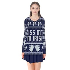 Kiss Me I m Irish Ugly Christmas Blue Background Flare Dress