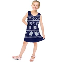 Kiss Me I m Irish Ugly Christmas Blue Background Kids  Tunic Dress