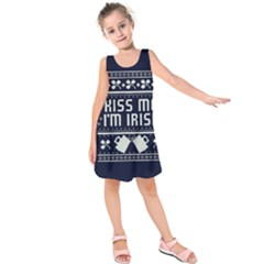 Kiss Me I m Irish Ugly Christmas Blue Background Kids  Sleeveless Dress