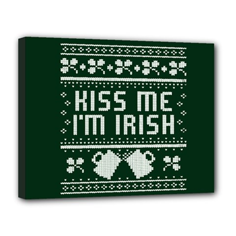 Kiss Me I m Irish Ugly Christmas Green Background Canvas 14  X 11