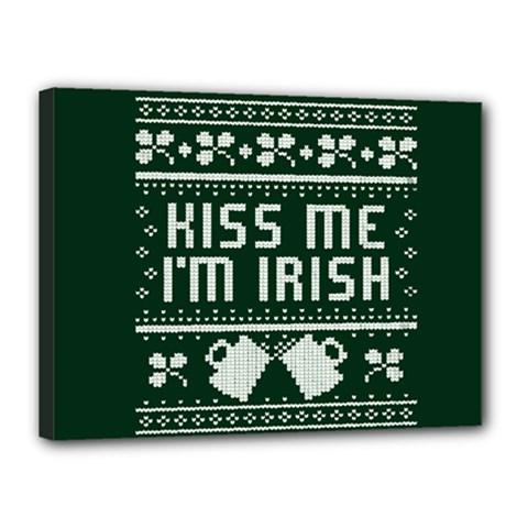 Kiss Me I m Irish Ugly Christmas Green Background Canvas 16  x 12