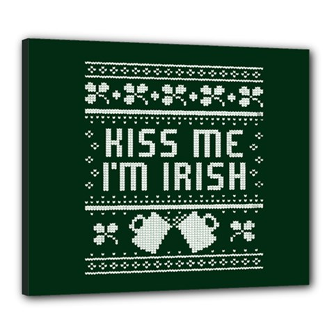 Kiss Me I m Irish Ugly Christmas Green Background Canvas 24  x 20