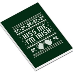 Kiss Me I m Irish Ugly Christmas Green Background Large Memo Pads