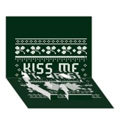 Kiss Me I m Irish Ugly Christmas Green Background Love Bottom 3d Greeting Card (7x5)