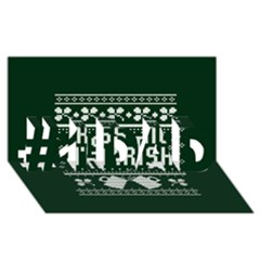 Kiss Me I m Irish Ugly Christmas Green Background #1 Dad 3d Greeting Card (8x4)