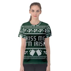 Kiss Me I m Irish Ugly Christmas Green Background Women s Sport Mesh Tee
