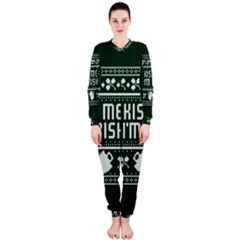 Kiss Me I m Irish Ugly Christmas Green Background OnePiece Jumpsuit (Ladies)