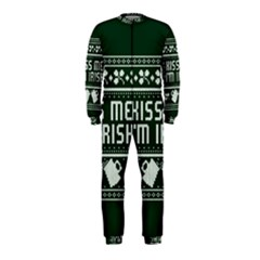 Kiss Me I m Irish Ugly Christmas Green Background OnePiece Jumpsuit (Kids)