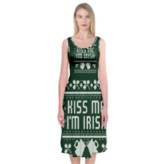 Kiss Me I m Irish Ugly Christmas Green Background Midi Sleeveless Dress