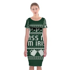 Kiss Me I m Irish Ugly Christmas Green Background Classic Short Sleeve Midi Dress
