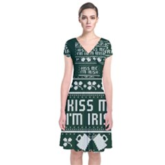 Kiss Me I m Irish Ugly Christmas Green Background Short Sleeve Front Wrap Dress