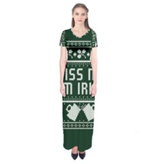 Kiss Me I m Irish Ugly Christmas Green Background Short Sleeve Maxi Dress
