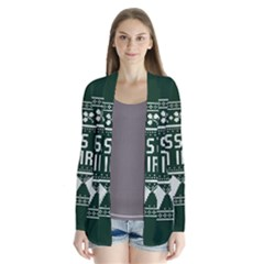 Kiss Me I m Irish Ugly Christmas Green Background Drape Collar Cardigan