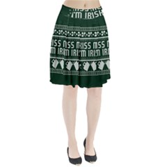 Kiss Me I m Irish Ugly Christmas Green Background Pleated Skirt