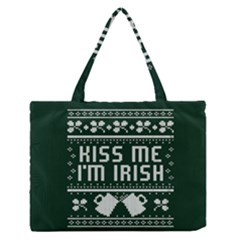 Kiss Me I m Irish Ugly Christmas Green Background Medium Zipper Tote Bag