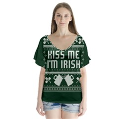 Kiss Me I m Irish Ugly Christmas Green Background Flutter Sleeve Top
