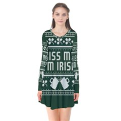 Kiss Me I m Irish Ugly Christmas Green Background Flare Dress