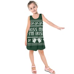 Kiss Me I m Irish Ugly Christmas Green Background Kids  Sleeveless Dress