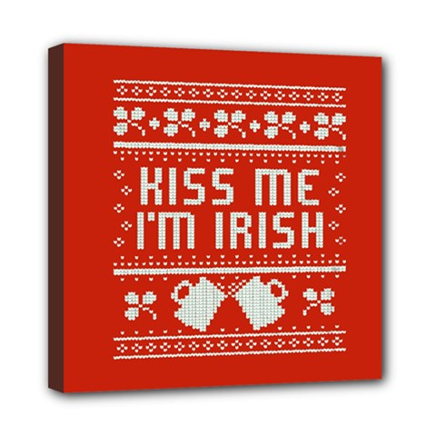 Kiss Me I m Irish Ugly Christmas Red Background Mini Canvas 8  X 8
