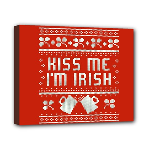 Kiss Me I m Irish Ugly Christmas Red Background Canvas 10  x 8
