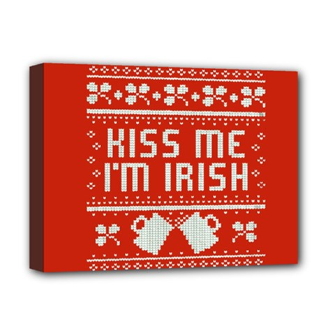 Kiss Me I m Irish Ugly Christmas Red Background Deluxe Canvas 16  x 12