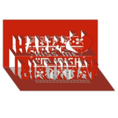 Kiss Me I m Irish Ugly Christmas Red Background Happy Birthday 3d Greeting Card (8x4)