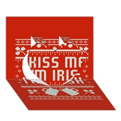 Kiss Me I m Irish Ugly Christmas Red Background Heart 3D Greeting Card (7x5)