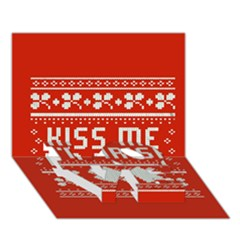 Kiss Me I m Irish Ugly Christmas Red Background Love Bottom 3d Greeting Card (7x5)