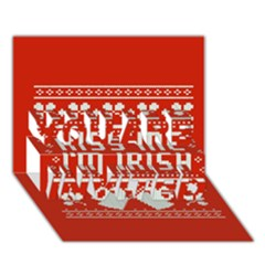 Kiss Me I m Irish Ugly Christmas Red Background You Are Invited 3d Greeting Card (7x5)