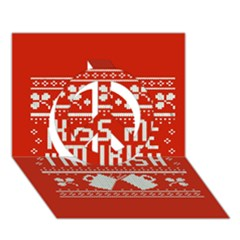 Kiss Me I m Irish Ugly Christmas Red Background Peace Sign 3D Greeting Card (7x5)