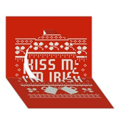 Kiss Me I m Irish Ugly Christmas Red Background Circle 3D Greeting Card (7x5)