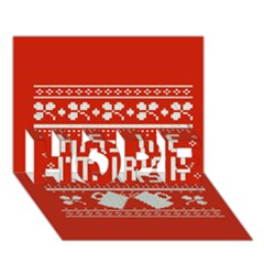 Kiss Me I m Irish Ugly Christmas Red Background Hope 3d Greeting Card (7x5)