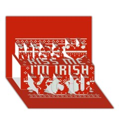 Kiss Me I m Irish Ugly Christmas Red Background Miss You 3D Greeting Card (7x5)
