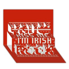 Kiss Me I m Irish Ugly Christmas Red Background You Rock 3D Greeting Card (7x5)