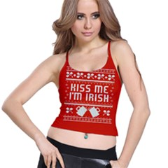 Kiss Me I m Irish Ugly Christmas Red Background Spaghetti Strap Bra Top
