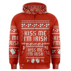 Kiss Me I m Irish Ugly Christmas Red Background Men s Zipper Hoodie