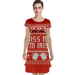 Kiss Me I m Irish Ugly Christmas Red Background Cap Sleeve Nightdress
